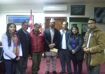 HURPES delegation meeting with Hon Tourism and Civil Aviation Minister Jivan Bahadur Shahi